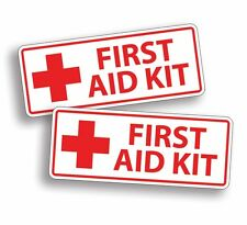 WHITE First Aid Kit Stickers Decal Truck Trailer Camper Camping Hike Hiking Run
