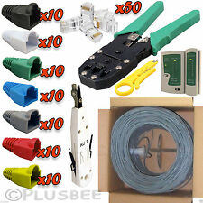 305M RJ45 Cat6 Cable Roll Crimper Tester Punch Tool Connector Boots Network Kit