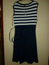 Lauren Ralph Lauren blue cap sleeve belted dress Medium - RRP £170 Brand New