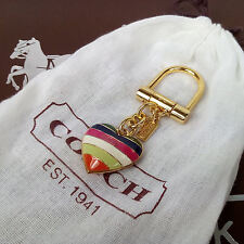 NWOT COACH 61902 LEGACY STRIPE HEART PUFFY KEY CHAIN CHARM MULTI COLOR