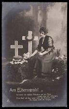 Edwardian 1910s original vintage photo postcard lady romance death cross