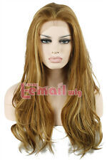 """Womens 22"""" Long mix brown&blonde natural Wavy synthetic hair lace front wig LC66"""