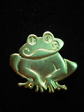 """JJ"" Jonette Jewelry Gold Pewter 'Grinning FROG' Pin"