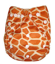 Reusable Baby Infant Nappy Modern Cloth Diapers and Insert, Minky Giraffe