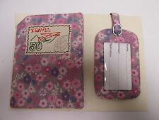 Pink Floral Design Passport Holder Wallet Case with Travel Bag Case Tag #2F16