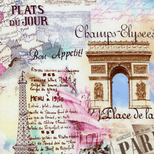 Timeless Treasures Paris Eiffel Tower Champs-Elysees Map Script Fabric in Pastel