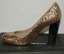 NIB EMPORIO ARMANI $495 GLITTER PUMPS SHOES SZ US 7 EU 37.5 MADE IN ITALY