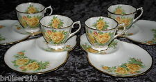 YELLOW TEA ROSE 4x SNACK SET Plate Tea Cup Tennis Luncheon Royal Albert ENGLAND