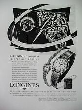 PUBLICITE DE PRESSE LONGINES MONTRE PRECISION ILLUSTRATEUR BLEUER FRENCH AD 1954
