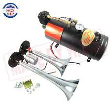 Dual 2 Trumpet Chrome Train Air Horn Kit ,w/ 150 PSI 3 Liter 12V Air Compressor