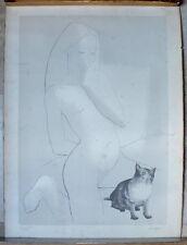 lithographie femme au chat numerotee 43/60 de Daniel Sciora