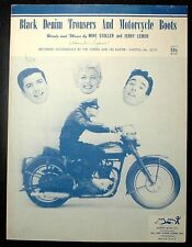 """1955 HARLEY DAVIDSON ON SHEET MUSIC """"BLACK DENIM IN TROUSERS"""" & MOTORCYCLE BOOTS"""