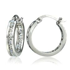 Sterling Silver Cubic Zirconia Inside Out Channel-Set 15mm Round Hoop Earrings