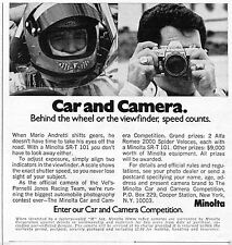 1972 Print Ad of Minolta Car and Camera Corp SRT-101 with Mario Andretti