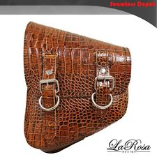 La Rosa Harley Softail Rigid Brown Alligator Design Leather Left Side Saddle Bag