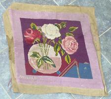 Ancienne broderie abecedaire canevas d'époque 1920 Art Deco, Decor de fleurs