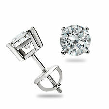 .60 Ct Round cut Basket set Stud Earrings Screw back 14K White Gold Pierced Gift