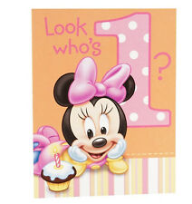 Disney MINNIE MOUSE 1st Birthday ~(8) Invitations with envelopes ~Party Supplies