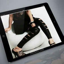 Wet Look Leggings + Riss Schlitze Leder Optik Stretch Leggins Gothic XS S 34 36