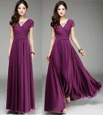 Women Ladies Purple Long Maxi Formal evening Cocktail Party Dress Plus Size 22