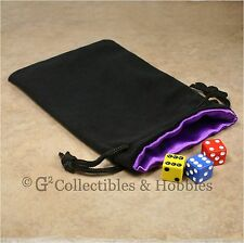 NEW Large Black Velvet RPG Game Dice Bag with PURPLE Satin Lining Counter Pouch