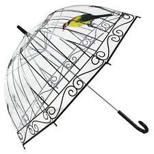 Girls Transparent Rain Umbrella Folding Dome Cute Bird Cage Print Long Parasol