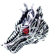 Punk goth style antique silver and red coloured dragon head ring, UK Size S