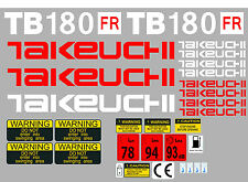 TAKEUCHI TB180FR MINI DIGGER COMPLETE DECAL SET WITH SAFETY WARNING SIGNS