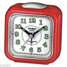 Casio TQ157-4D Travel Desk Alarm Clock Red Neobrite Resin Case w Battery New