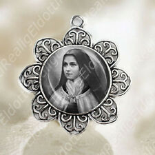 St. Therese Lisieux Medal Catholic Christian Flower Shaped Silver Tone Jewelry
