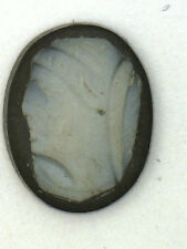 Antique Carved Miniature Oval Black & White Cameo Stone 10.5 mm x 8 mm   #N633