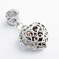 Womens Hollow Out Heart Pendant White Gold Plated silver jewellery free shipping