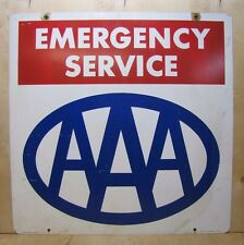 Orig 1970s AAA EMERGENCY SERVICE Sign double sided 'property of' AM Lynchburg