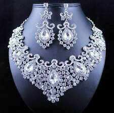 STUNNING CLEAR AUSTRIAN RHINESTONE CRYSTAL NECKLACE EARRINGS SET N12187 SILVER
