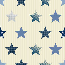 Small Stars Wallpaper - Blue , Striped Beige - Exclusive Range