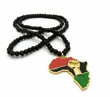 "NEW FIST POWER AFRICA PENDANT & 30"" WOOD BEAD CHAIN HIP HOP NECKLACE - RC2445G"