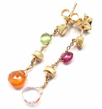Authentic! Marco Bicego 18k Yellow Gold Multicolor Gemstone Earrings