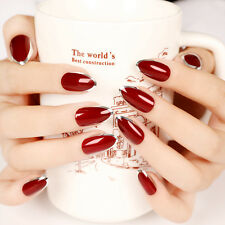24pcs False Nail Tips Sexy Red Silver Edge Outline Fake French Nails New Design