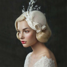Wedding Bridal Ivory Pillbox Hat Church Derby Fascinators Feather Veil Clip Band
