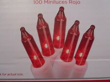 100 MINI RED CHRISTMAS WEDDING OUTDOOR PARTY STRING LIGHTS SET WHITE WIRE