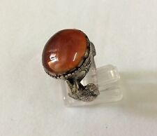 Men Bird Engraved Rings Near Eastern Vintage Agate Carnelian Afghan Antique 8.5