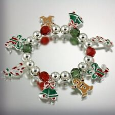 NEW CHRISTMAS BELLS GINGERBREAD MAN PRESENTS CANDY CANE CHARMS STRETCH BRACELET