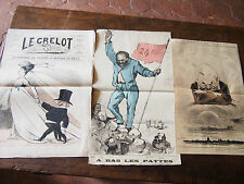 1873 DOSSIER Thiers LOT CARICATURE de GILL  du  JOURNAL LE GRELOT et divers