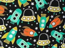 By 1/2 Yd Michael Miller Space Station Retro Fabric rocket spaceship outer stars