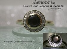 Bronze Star Sapphire & Diamond Cluster ring 9ct Yellow Gold Ring UK size N