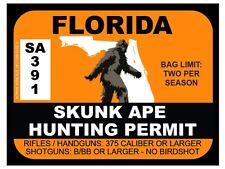 Skunk Ape Hunting Permit - FLORIDA  (Bumper Sticker)