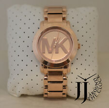 New Michael Kors Slim Runway Gold Tone Aqua Blue Dial Women Watch MK3492 42mm