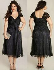 Tea Length Black Plus Size Lace Mother of the Bride Dress Wedding Party Gown