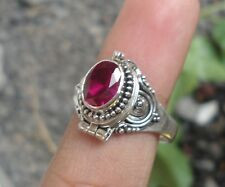 925 Solid Silver Balinese Poison Locket Ring With Ruby Cut Size 8-H67