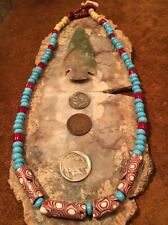 OLD Venetian MILLEFIORI and African TRADE Bead NECKLACE 18L  Mix
